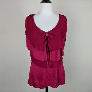 Anthropologie Ric Rac Dark Pink Tiered Bow Blouse